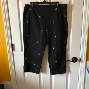 Attyre black Capri pants w/ embroidered palm trees